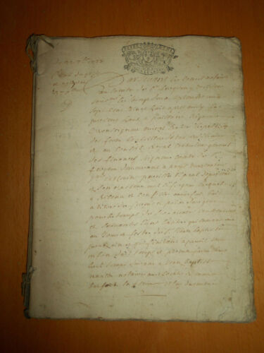 64 pages antique manuscript 1728 document bail leases signed handwritten notary