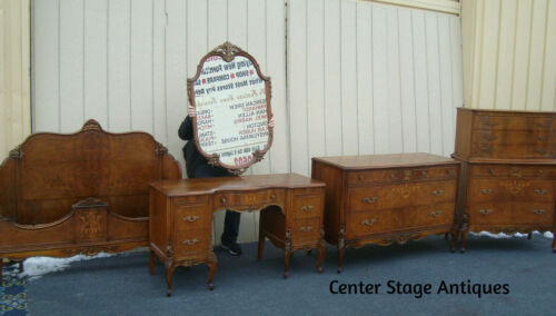 61734  French Louis XV Bedroom Set High Chest Dresser Vanity w/ Mirror Bed