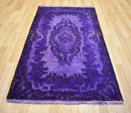 Vintage Over-Dyed Purple  Handmade Melas Rug  4 Ft x 7 Ft  Free Shipping