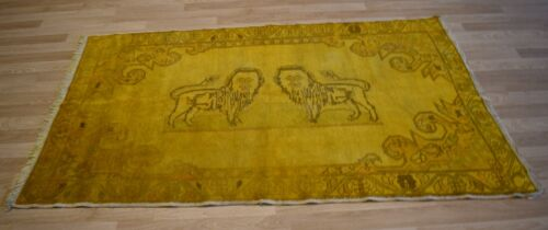 """Clearance- Vintage Over-Dyed Yellow """"Lion"""" Handmade Turkish Rug  5 Ft x 8 Ft"""