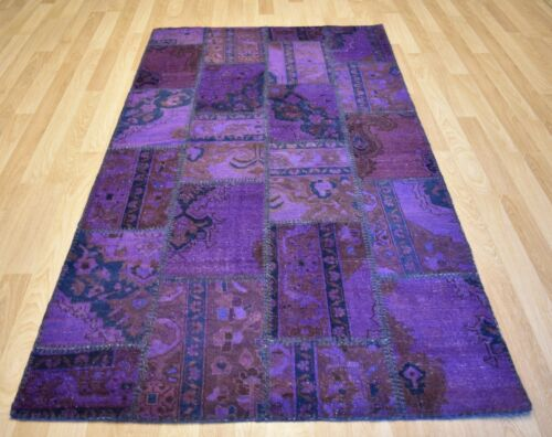 Vintage Over-Dyed Purple Handmade Patchwork Turkish Rug 5Ft x 8Ft  Free Shipping