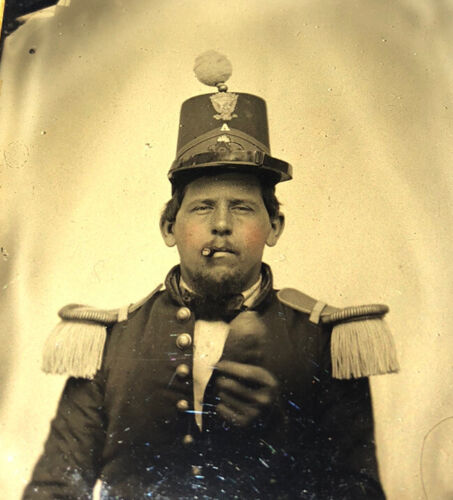 9th Plate size Ambrotype Civil War Soldier Cigar in Mouth, Holding Something?