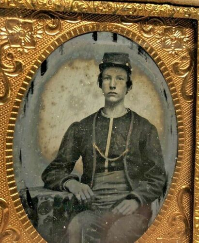 9th Plate Ambrotype Civil War Boy Soldier ZOUAVE Uniform NY 9th Infantry