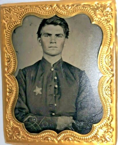 9th Plate Size Tintype of a Civil War Soldier Boy 12th Corps STAR Badge