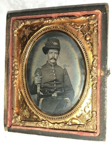 9th Plate Ruby Ambrotype Civil War Soldier Union OFFICER, Sword, Hardee Hat