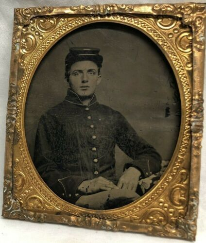 Civil War Soldier 6th Plate Size Tintype Eagle Buttons, Letter I
