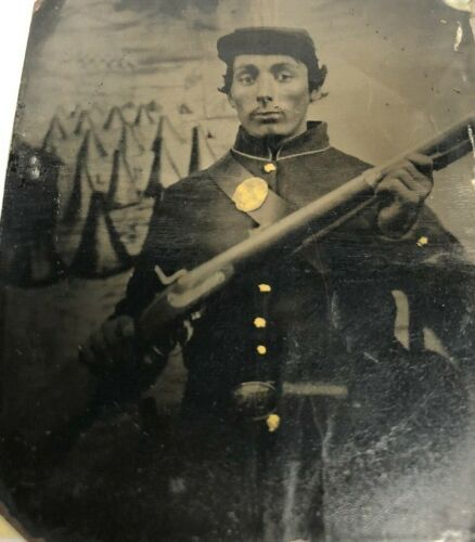 Civil War Ethnic Soldier RIFFLE 6th Plate Tintype Camp Background Gold Touches