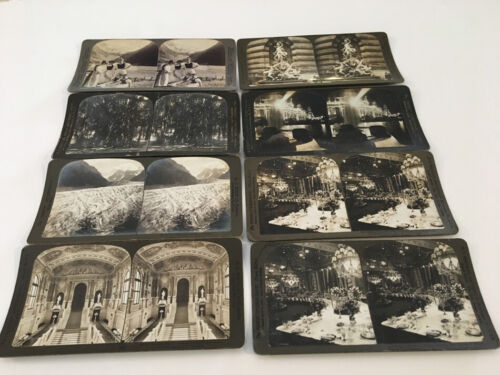 7 H.C.WHITE & 1 UNDERWOOD REAL PHOTO STEREOVIEW LOT 1898 -1904 PERIOD