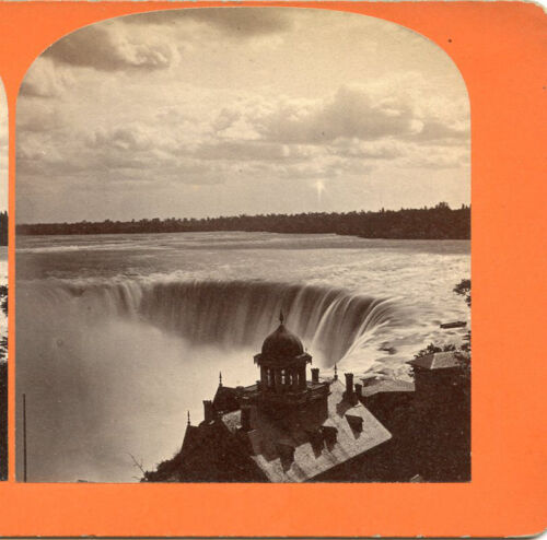 """HORSESHOE FALL """"CANADIAN FALLS"""" CANADA STEREOVIEW FALLS BUILDING WITH CUPOLA"""