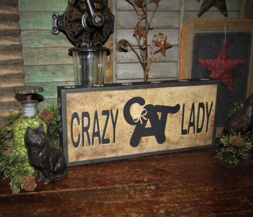 Primitive Antique Vtg Style Farmed Canvas CRAZY CAT LADY Hanging Kitty Sign