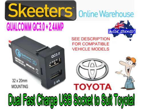 QC3.0 Dual USB Fast Charge Phone Charger to Suit Toyota Vehicles