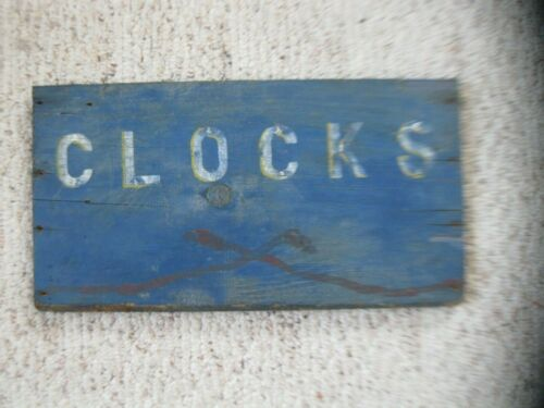 ANTIQUE WOOD SIGN OLD BLUE PAINT ADVERTISING CLOCKS country general store