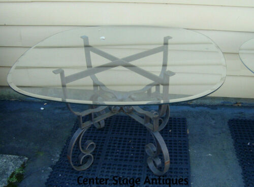 """61833 QUALITY Glass Top Dining Patio Table w/ Heavy metal Base  48"""" wide top"""