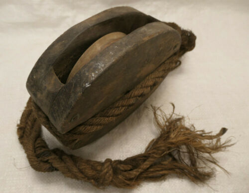 Vintage WOODEN Ship's Pulley One Wheel Japanese Marked Large #230