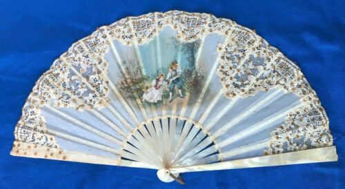 Antique French Mother of Pearl Painted Lace Fan w/ Gold & Sequins Wedding