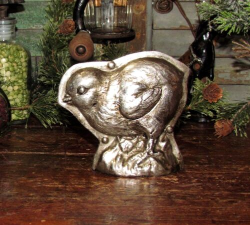 Primitive Antique Vtg Tin Style Chick Chicken Silver Resin Easter Chocolate Mold