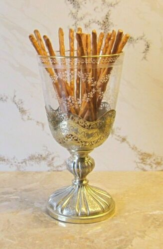 """Antique French19th Crystal glas with Sterling Silver base gilded """"for your Bar """""""