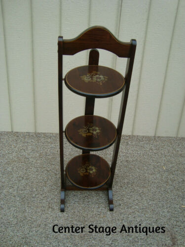 60130 Pine Tilt Top Stenciled  Muffin Stand Table