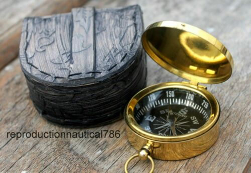 Lover Pocket Collectible Marine Compass Handmade Shiny Brass with leather case