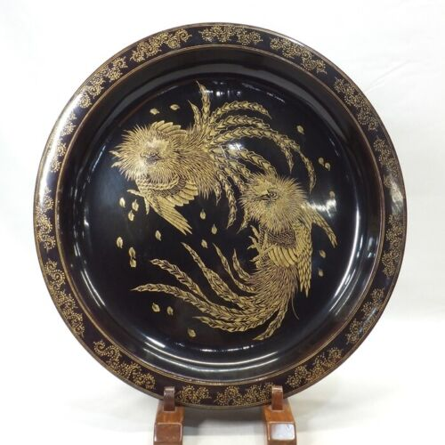 B636: Japanese BIG plate of old lacquer ware with fantastic great CHINKIN work