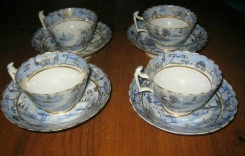 4 BEAUTIFUL ANTIQUE GILDED CUPS AND SAUCERS EARLY VICTORIAN RARE