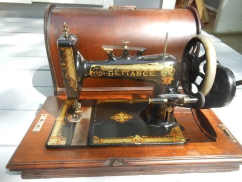 Neat Older Reliance Hand Crank Sewing Machine By New Home With Pretty Dome Case