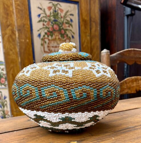 A Superb Vintage Lombok Balinese Glass Beaded Woven Basket With Lid