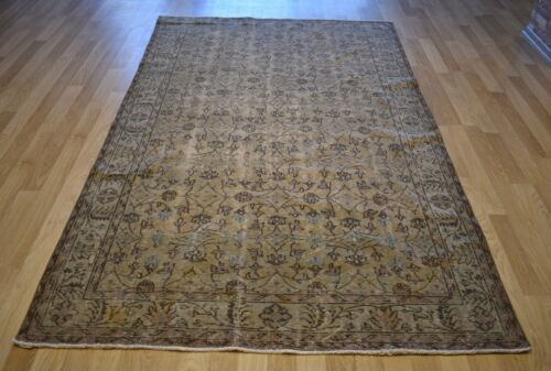 Clearance Vintage Distressed Handmade Fine Turkish Rug 6Ft X 10Ft  Free Shipping