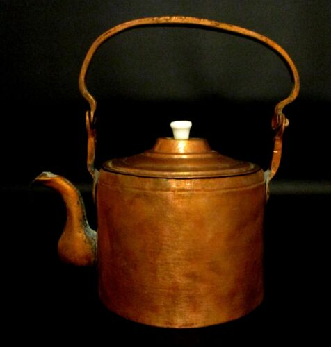 Antique Early Dovetailed Copper Tea Kettle With Swing Handle