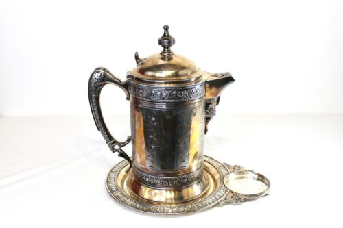 Antique Wilcox Victorian Style Pitcher With Underplate Silver Metal Detailed