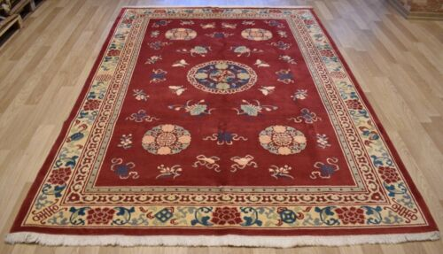 """Rare 1950's Imperial Chinese Ningxia Rug Qing Dynasty """"Shou Symbol"""" 7Ft x 10Ft"""