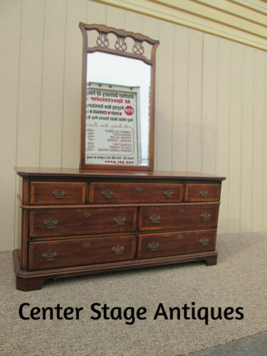 59881 T-4:  LANE Banded Chippendale Mahogany Dresser Chest w/ Mirror