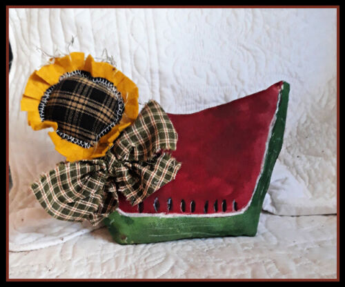 Primitive` Handmade` * Watermelon Slice with Sunflower`and Bow~Shelf Sitter