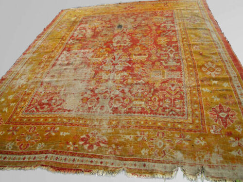 ANTIQUE Turkish Aushak oriental rug, room size.