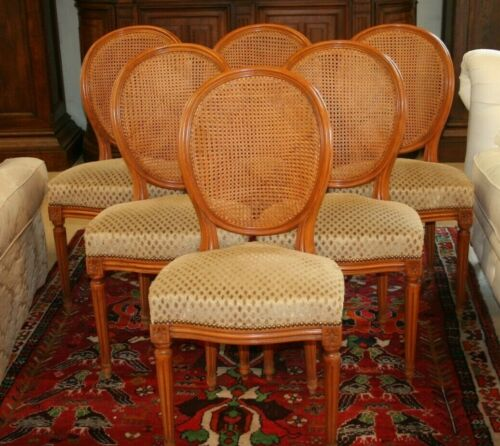 Set of 6 Antique French Louis XVI Dining Chairs Caned Back & Seat Carved Crest
