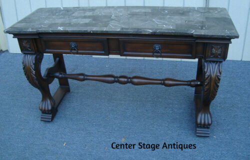 61712 Marble Top Console Hall Table Stand w Drawers