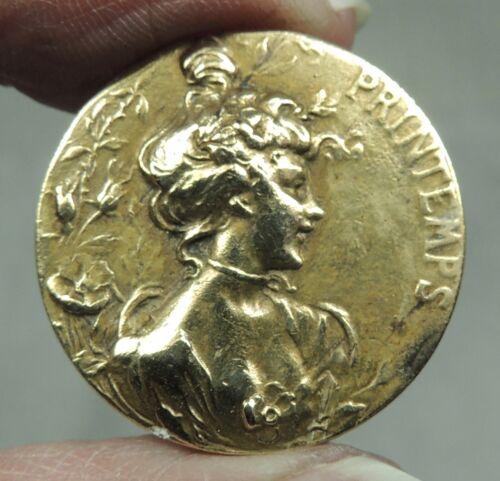 ANTIQUE BRASS PICTURE BUTTON ~ PRINTEMPS ~ SPRINGTIME ~ LADY HEAD CAMEO FRENCH