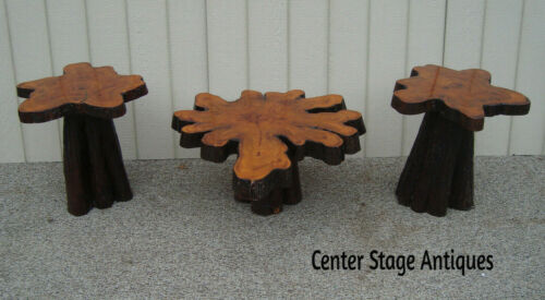 59576  Set 3 Mid Century Modern   Cypress Wood Coffee Lamp Table Set