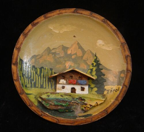 1960's GERMANY HAND CARVED PAINTED TINY WOOD BOWL BY AUGUST RUNGGALDIER TIROL