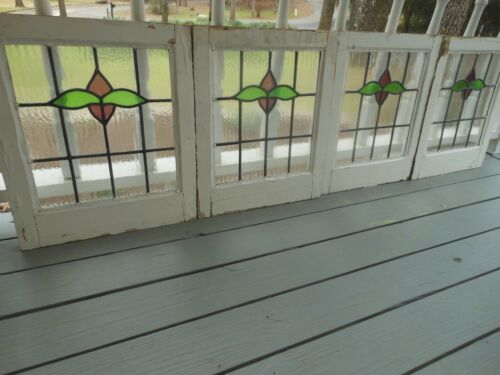 """HF166 Lovely English Leaded Stained Glass Window 6 Available 18 1/8""""  X 21"""" Tall"""