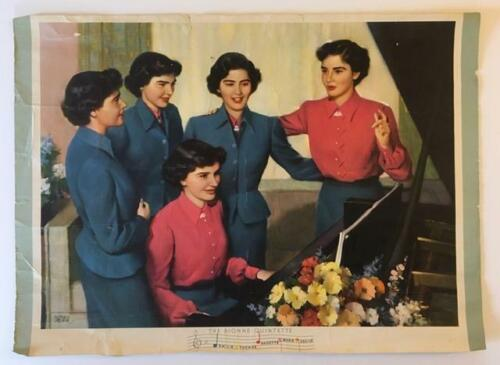 DIONNE Quintuplets Young Women at Piano~18x13~From 1953 Brown/Bigelow Calendar