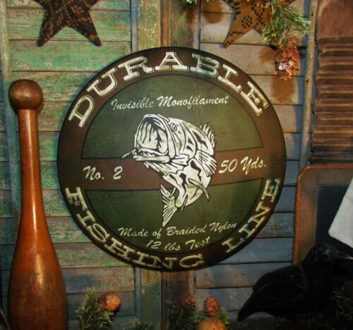 Primitive Antique Vtg Style Durable Bass 12 lb. Fishing Line Round Dome Tin Sign
