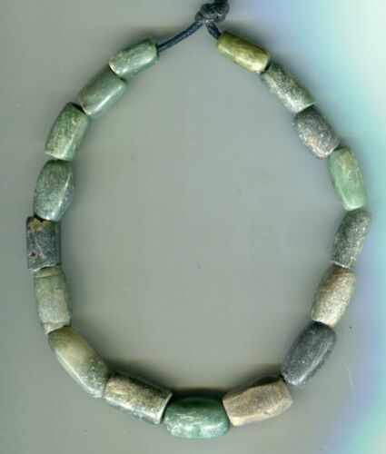 African Trade beads very old green stone serpentine beads