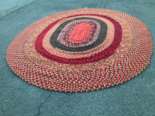 antique folk art AMERICAN Braided rug   PA rr    SIZE   110inch  by 128 inches.