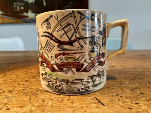 Antique 19th C. English Ceramic God Speed The Plough Motto Ware Cup Farmer Arms