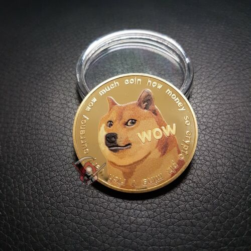 Dogecoin 40mm Gold Plated Commemorative Doge Coin Meme Gift Collectible Shiba