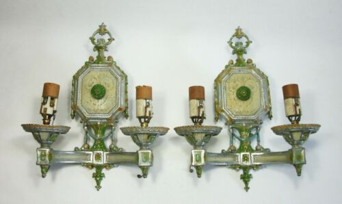 w PAIR Vtg 1930s ISCO DOUBLE ARM ELECTRIC CANDLE WALL SCONCE Light Fixtures