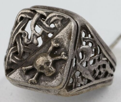 Ring SKULL Bones STERLING Silver ww1 WWI or wwII Army SPECIAL Force SHOCK Troops