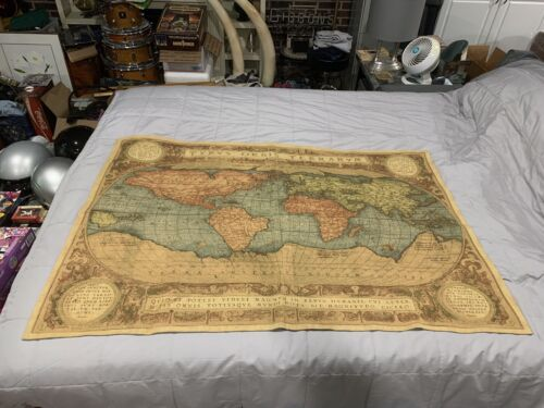 Vintage Armin & Marion Tapestry Old World Map Made In Germany Mapmonde Hanging