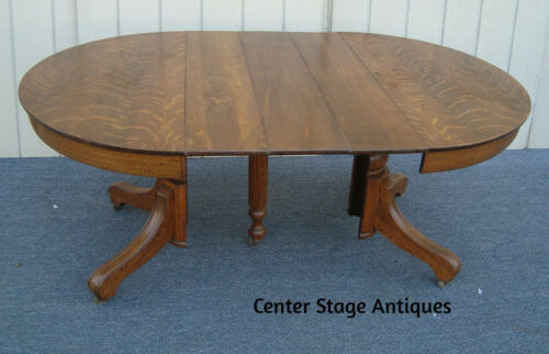 """61817  Antique Solid Oak Dining Table with 3 Leafs  TOP 71"""" x 44"""""""